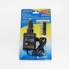 Автоадаптер  вход 12v/24v - вых. 3v. 5v. 6v. 7.5v. 9v. 12v  + гн.USB 5v - 3000 mA