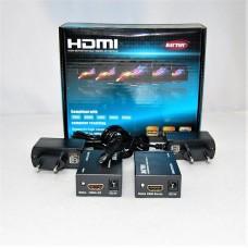 HDMI EXTENDER 1.4 3D 1080P удлинитель/усилитель HDMI сигнала до 90 метров (26AWG) по одному кабелю LAN CAT5E/6 до 60 м, б/п 2 шт*DC 5v (в комплекте).