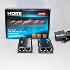 HDMI EXTENDER 1.4 3D 1080P удлинитель/усилитель HDMI сигнала до 45 метров (26AWG) по двум кабелям LAN CAT5E/6 (568B) до 30 м, б/п 1 шт*DC 5v (в комплекте).