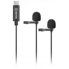 Boya BY-M3D двойной петличный микрофон с разъёмом USB Type-C для смартфонов Android, планшетов, iPad Pro, Mac PC
