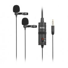 Boya BY-M1DM двойной петличный микрофон для смартфонов, камер, диктофонов, планшетов