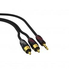 Кабель межблочный QED PROFILE  J2P  Stereo Audio Cable 1m  2 Phono---->3.5mm Jack Plug QE5081
