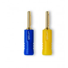 Разъем акустический типа банан QED Airloc Plastic Banana Plug/20 (голубые-желтые) QE1815