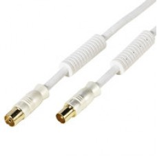 43060.7/110 75-N. Ант. TV кабель для 100Гц TV, штырь - гнездо, белый, > 110 dB, 7.5 м, золоченый