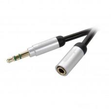 31039.MP AV1 03B. Аудио , стерео кабель HiFi  3.5мм(штырь) - 3.5мм(гнездо), 0.3м, золоченый,  (для iPhone/iPod/iPad/MP3 плеера)