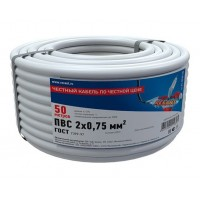 Провод соединительный ПВС 2x0,75 мм², длина 50 метров, ГОСТ 7399-97  REXANT