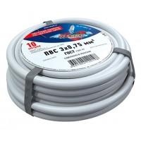 Провод соединительный ПВС 3x0,75 мм², длина 10 метров, ГОСТ 7399-97  REXANT