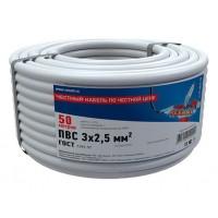 Провод соединительный ПВС 3x2,5 мм², длина 50 метров, ГОСТ 7399-97  REXANT