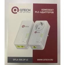 Сетевой PLC адаптер Qtech  QPLA-500.2P v.3 с Wi-Fi