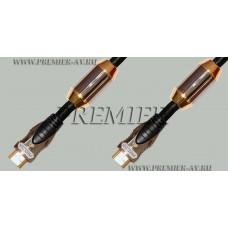 """Premier 5-814 0.5 Шнур HDMI """"шт"""" - HDMI """"шт"""" металл позолоченный с ферритами OD8.0мм в нейлоне 0.5м версия 2.0b"""